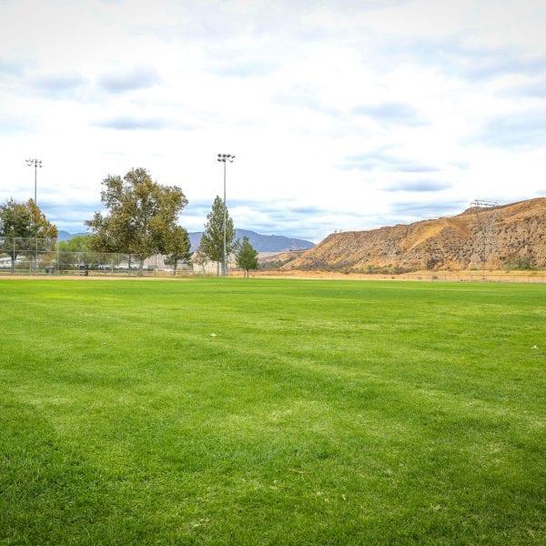 Wide open grass area of a baseball field