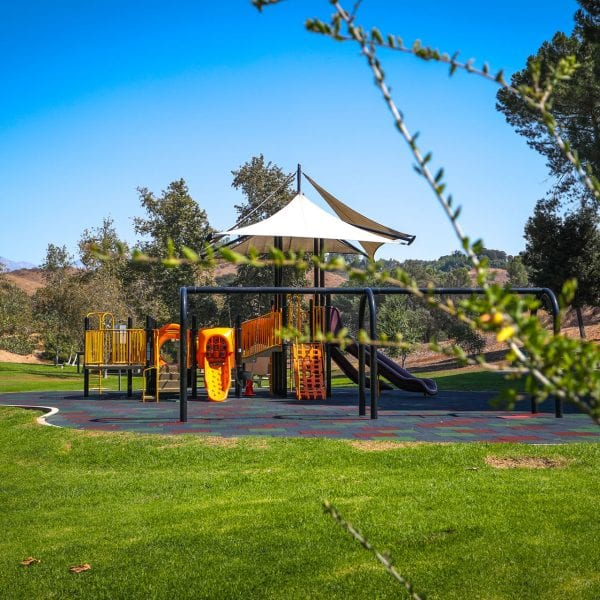 A far away picture of the Frank G. Bonelli Regional Park jungle gym