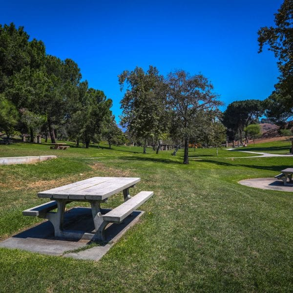 A picture of the Frank G. Bonelli Regional Park tables