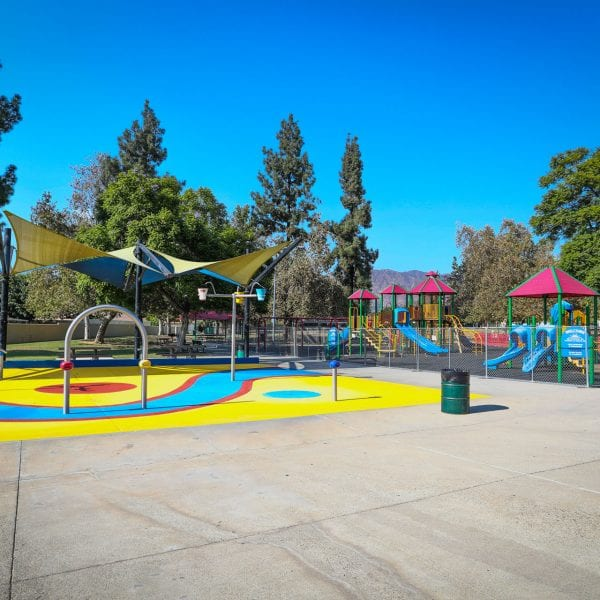 Splash pad and playground