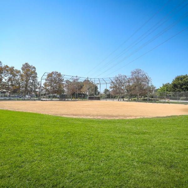 Baseball diamond and net