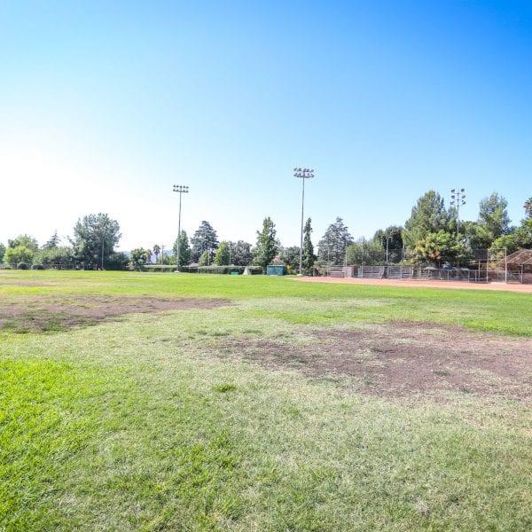 Open field of grass for baseball
