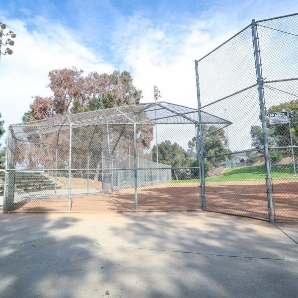Baseball net and bleachers