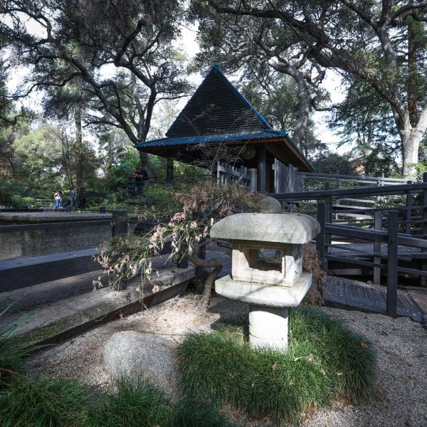 Stone pagoda in an Asian garden