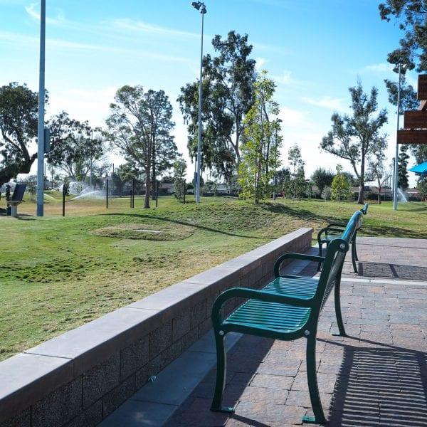 Benches facing the golf course