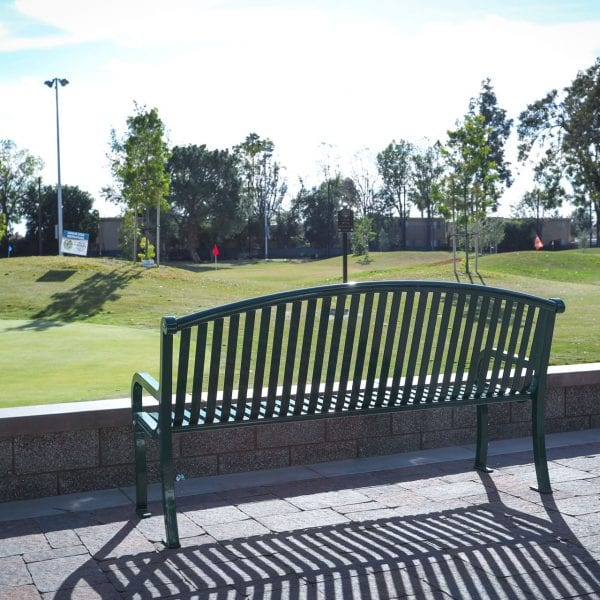 Bench over looking the golf course