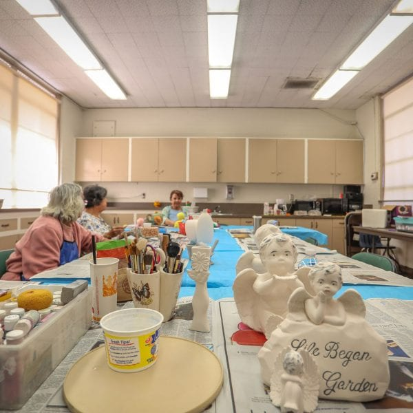 A ceramic class in action