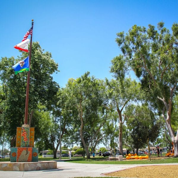 Playgrounds and flags on pole