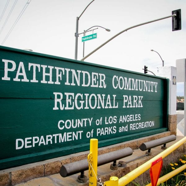 Pathfinder Community Regional Park sign