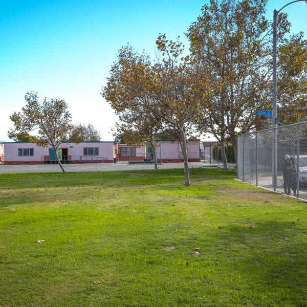 View of classroom facilities among the grass