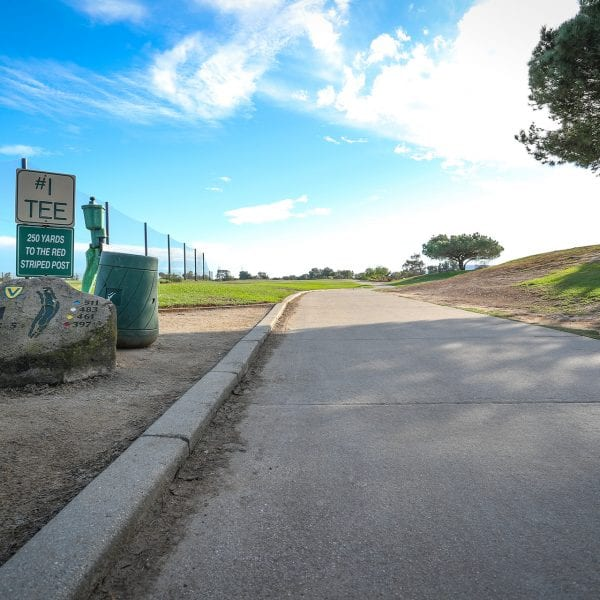 Cart path, sign to the left