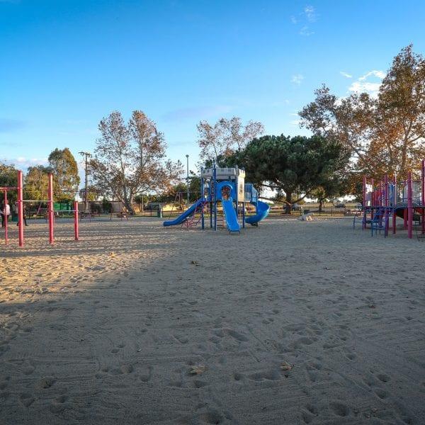 Jungle gym and playgrounds on a sand turf