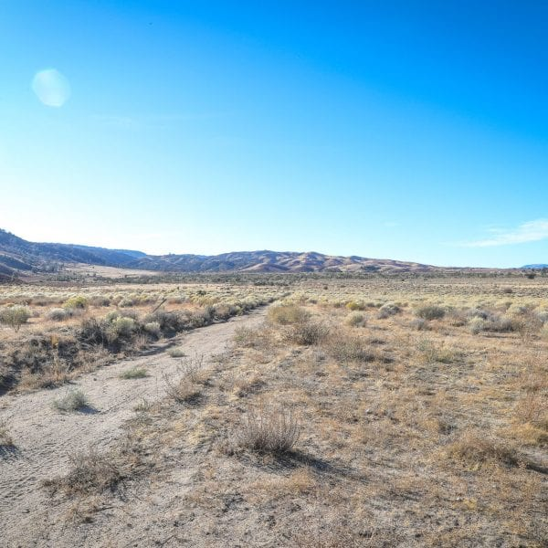 Dirt road, desert hills, vibrant blue sky