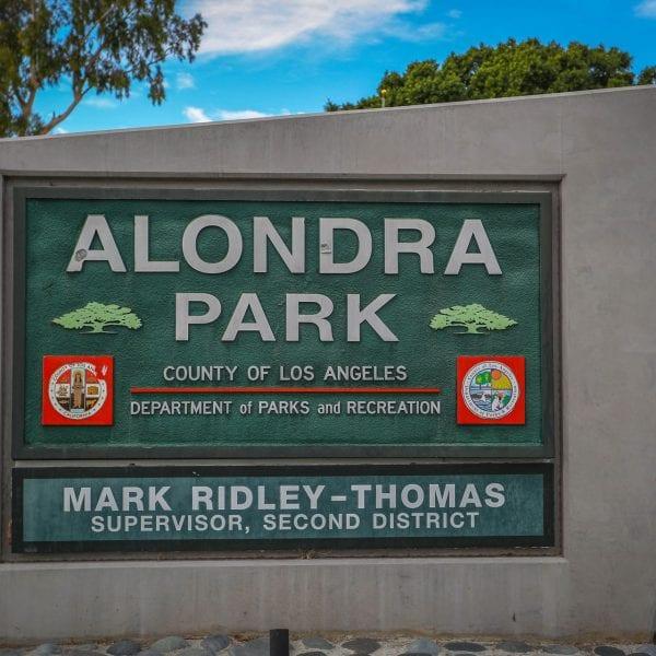 Alondra Community Regional Park sign
