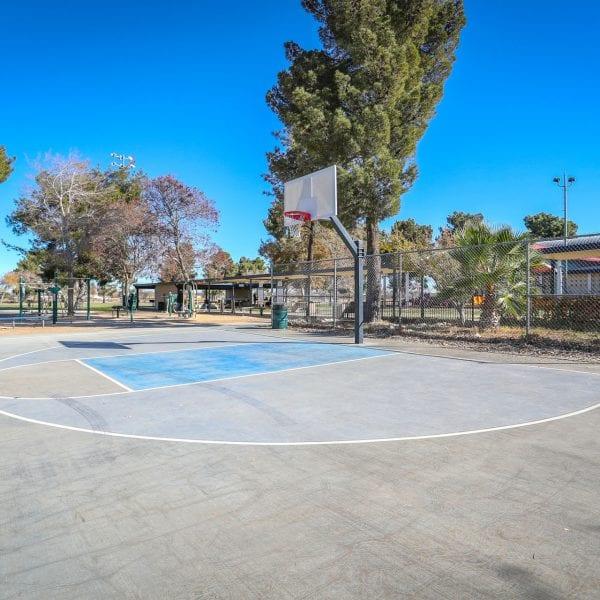 Hoop on basketball court