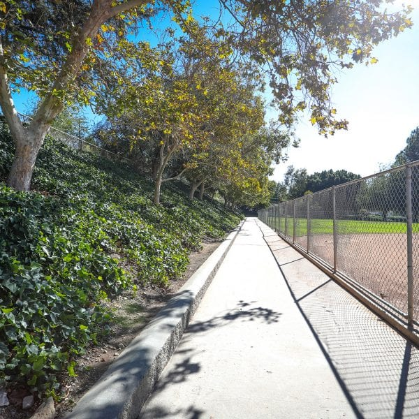 Walkway surrounding Baseball field