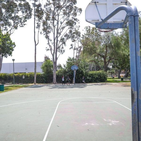 Basketball court, kids playing basketball