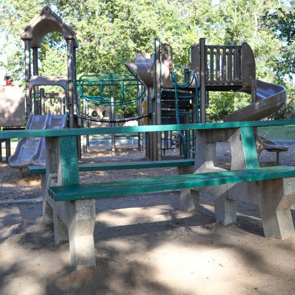 Park bench and playground