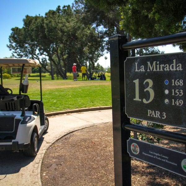 Golf cart passing by an informational sign