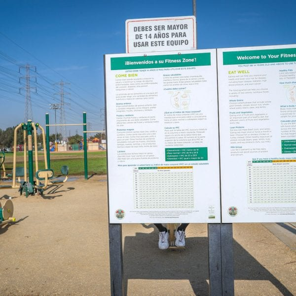 Informational signage next to exercise equipment