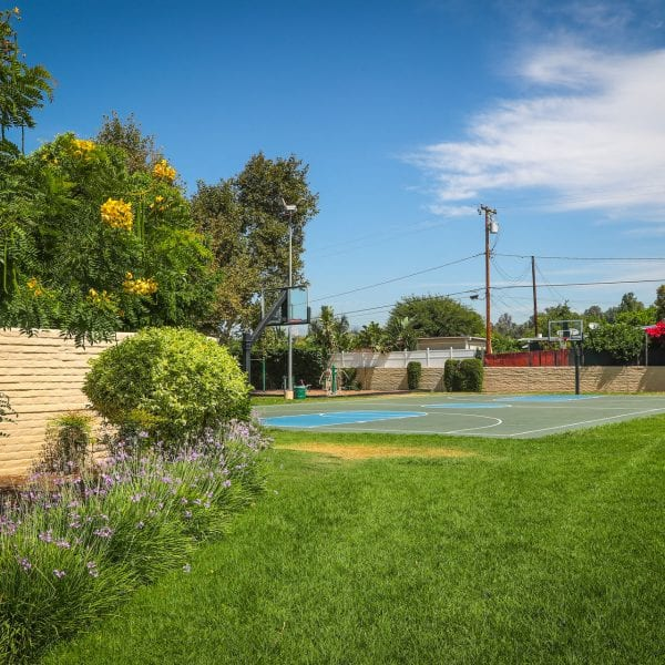 Basketball court, lawn and flowers
