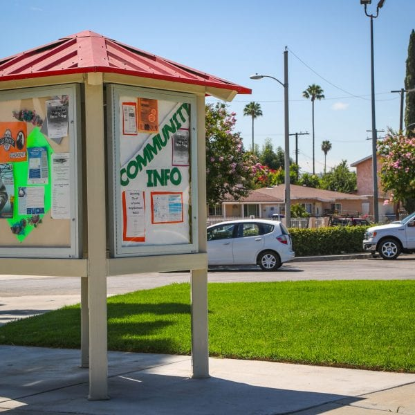 Sheltered community info board