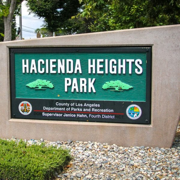Hacienda Heights Community Center sign at entrance