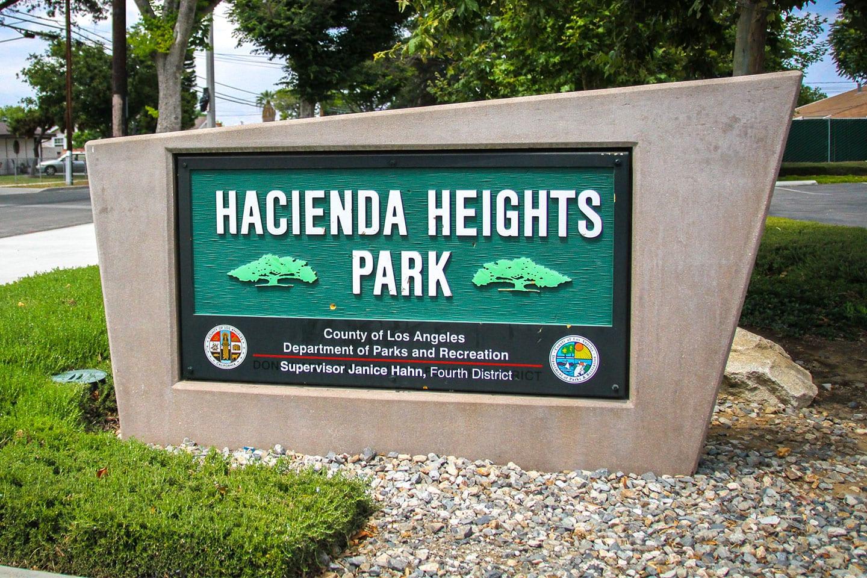 Hacienda Heights Community Center sign at entrance