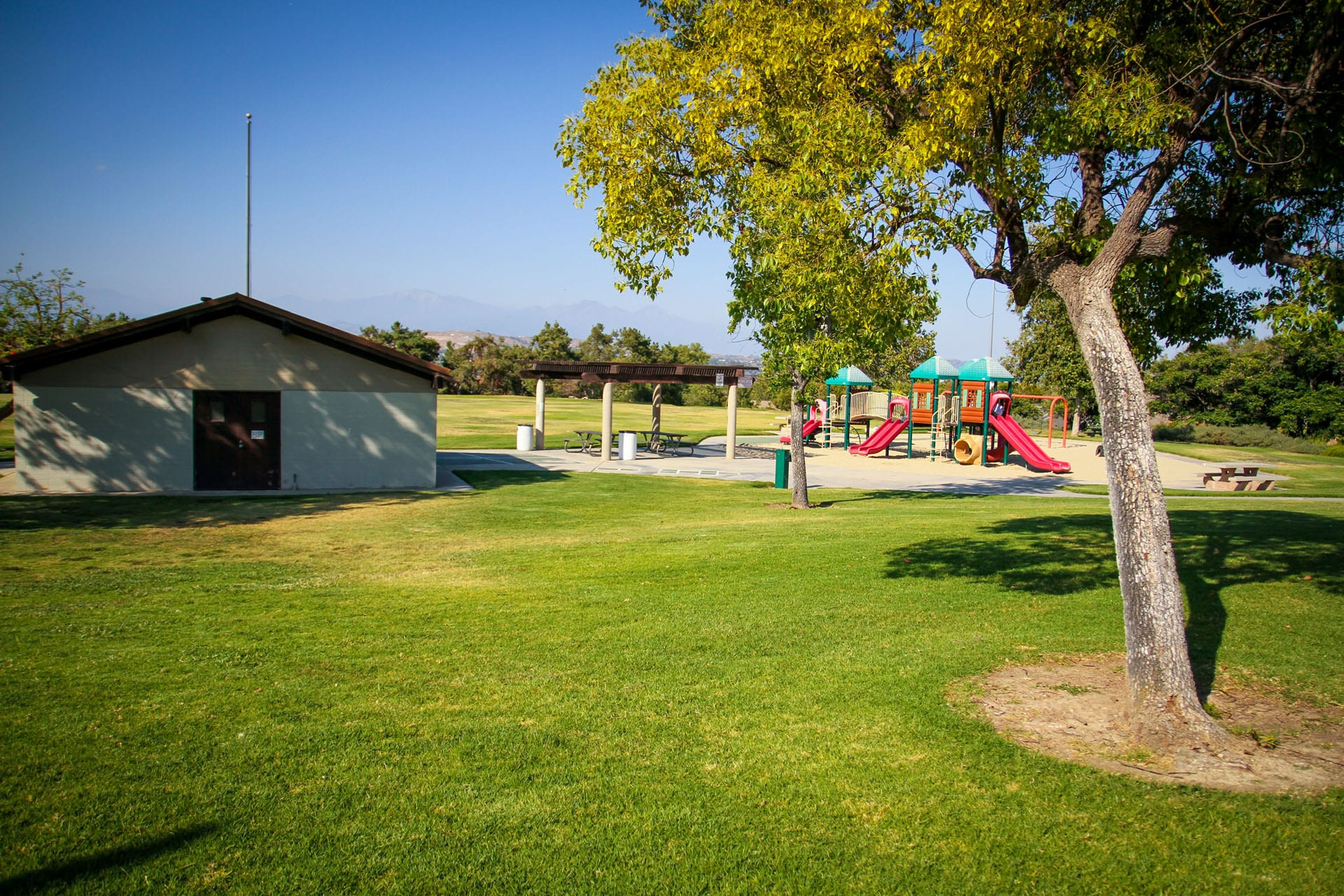 Green lawn and a playground at a distance