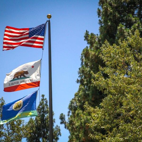 Flags on a flag pole