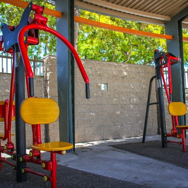 Exercise equipment under an awning