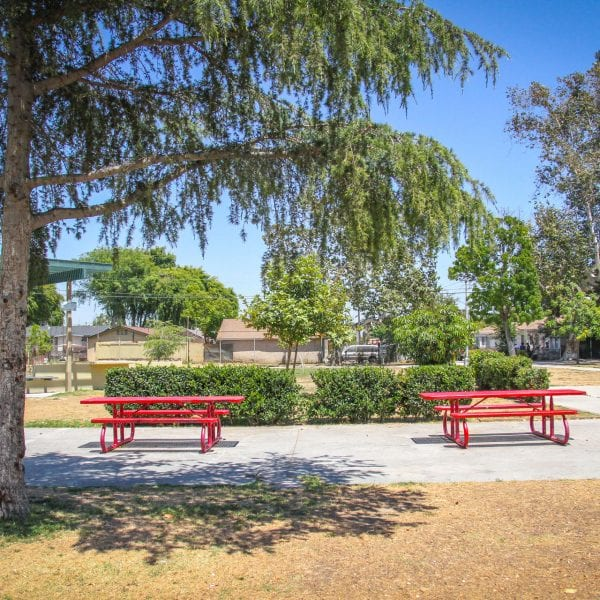 Red picnic tables
