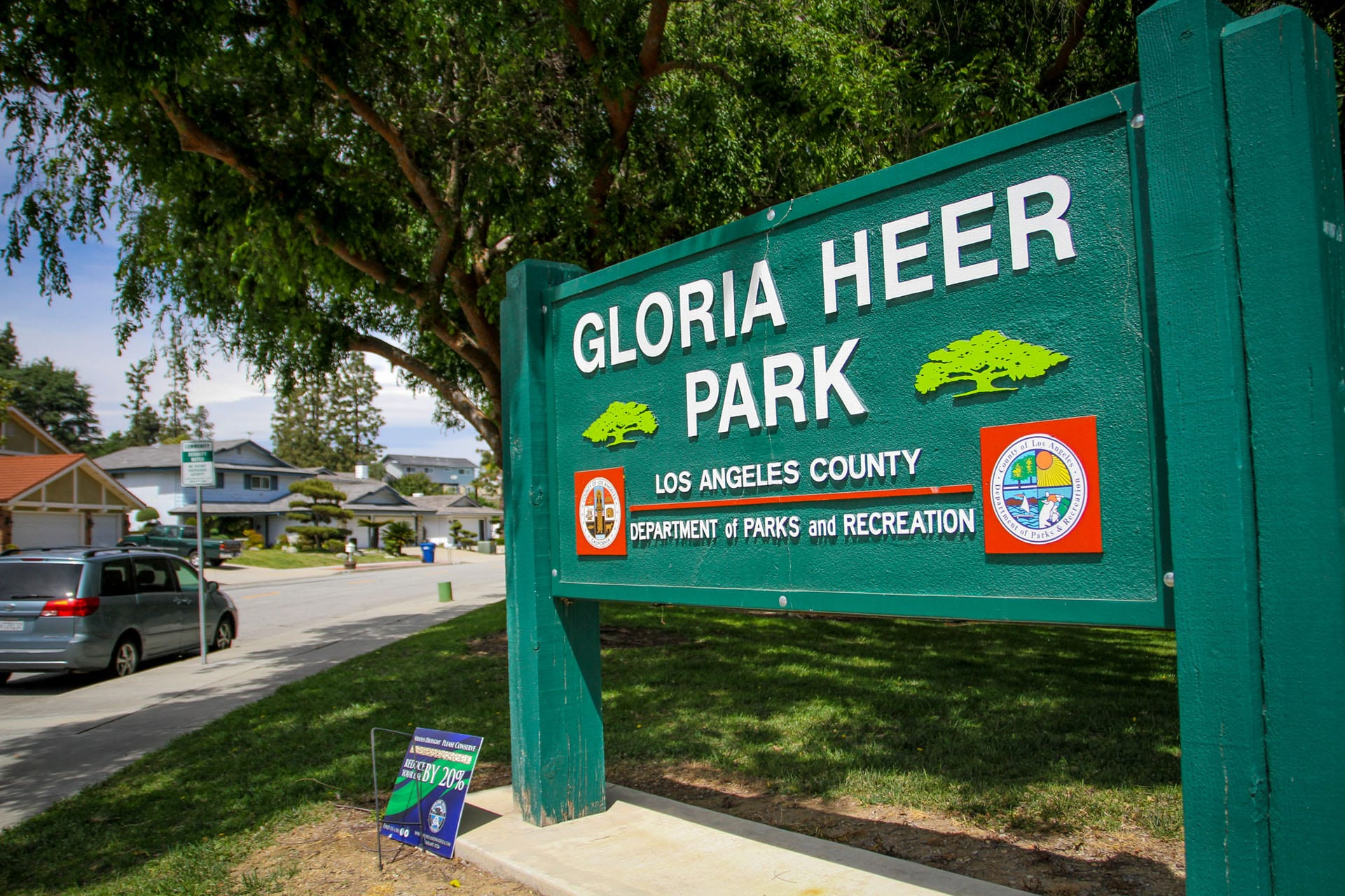 Gloria Heer Park sign from the right
