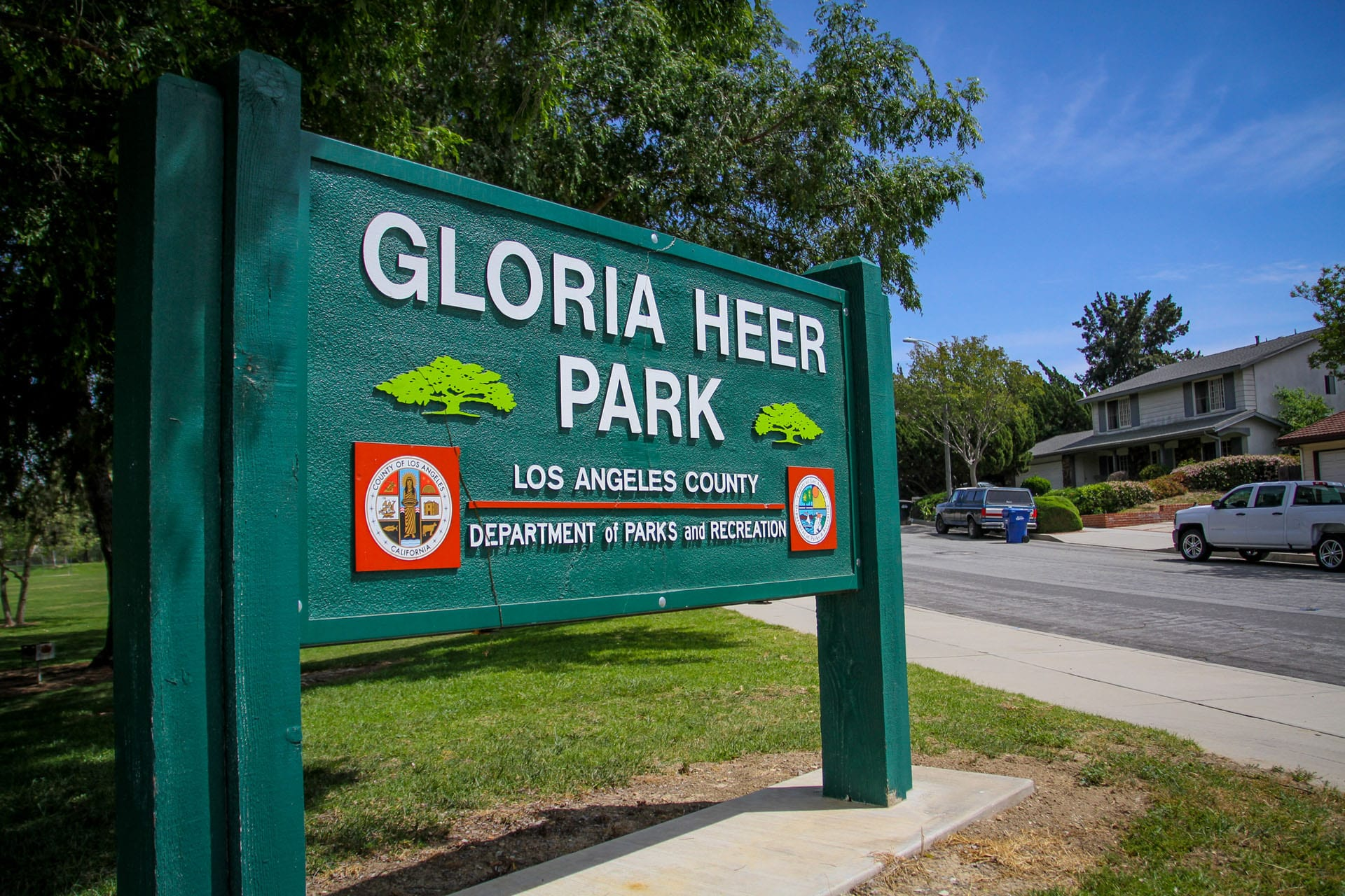 Gloria Heer Park sign from left