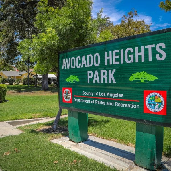 Avocado Heights Park sign