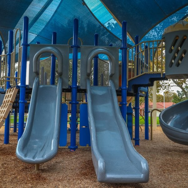 Slides on a playground structure