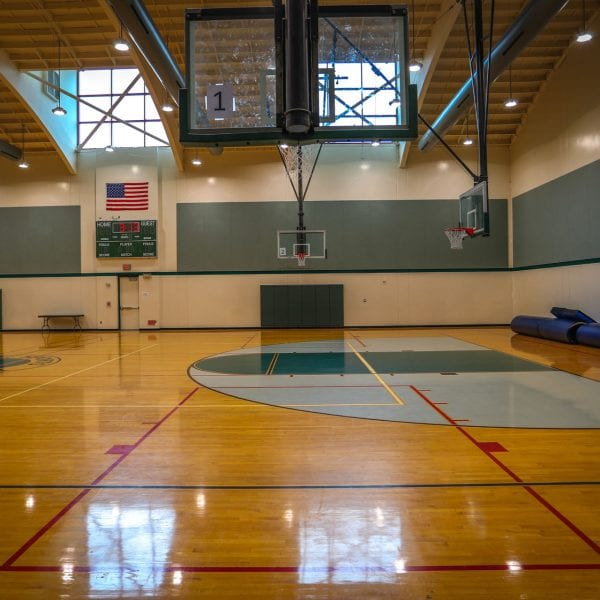 Indoor basketball court, side view