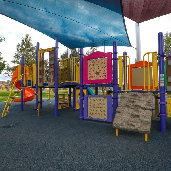 Playground on a rubber turf