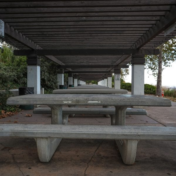 Picnic tables under an awning