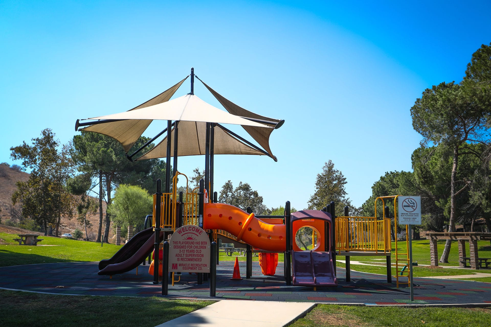 Playground showing the side with the Welcome sign
