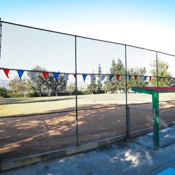 Side bench of baseball field