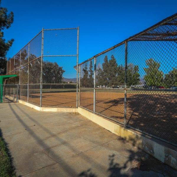 Baseball net and nearby bleachers