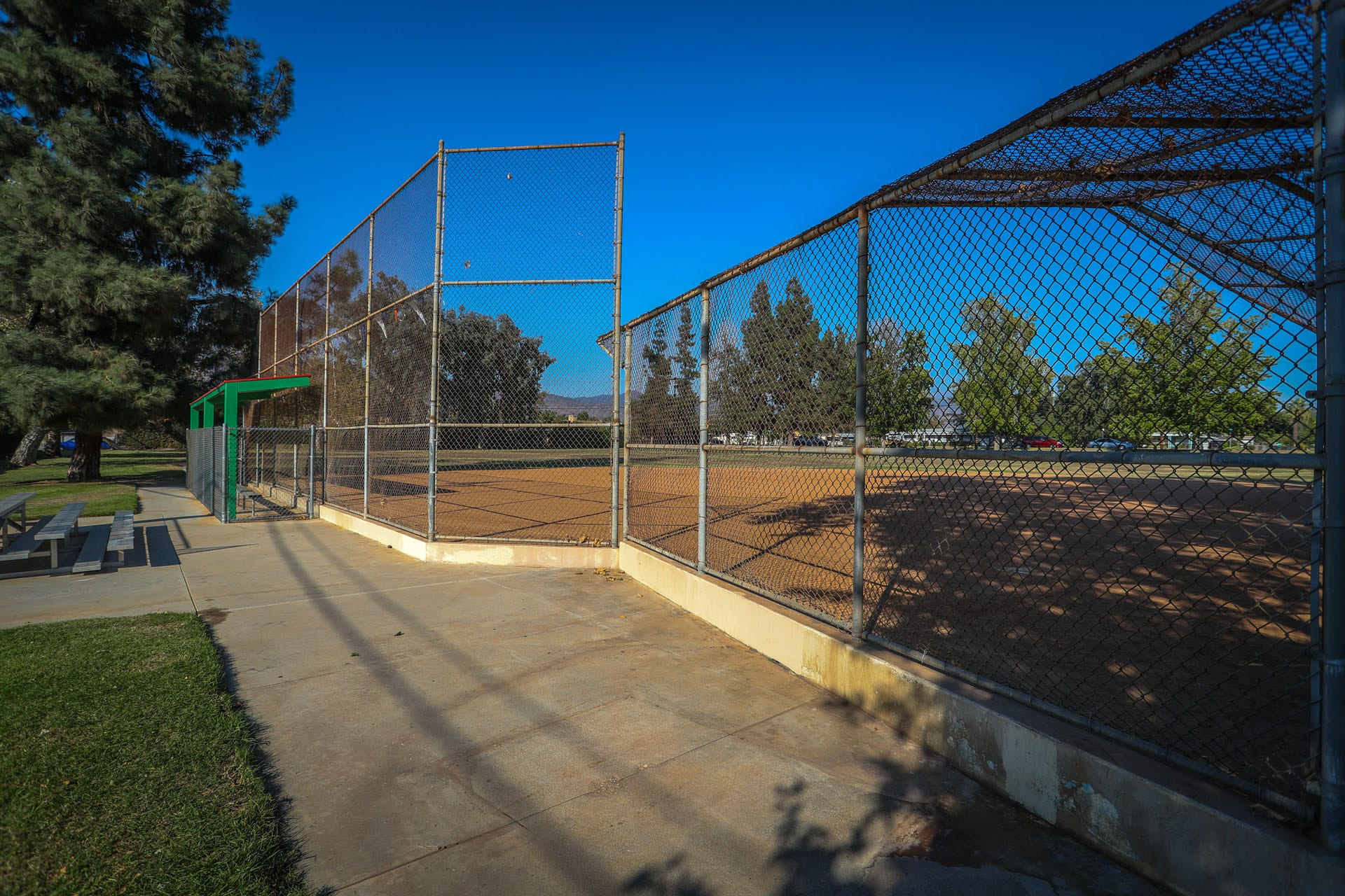 Baseball net and nearby bleachers