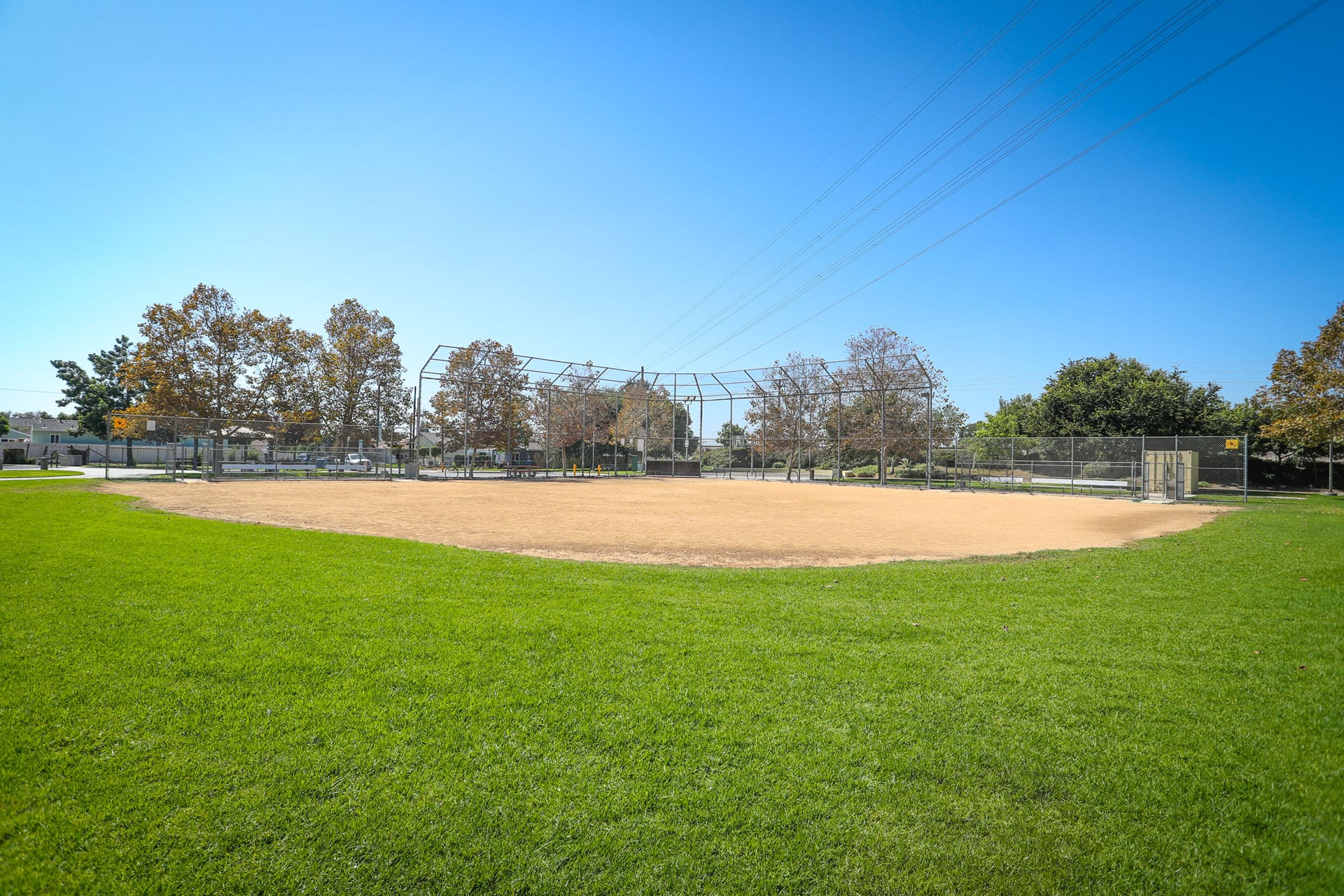 Baseball diamond and net