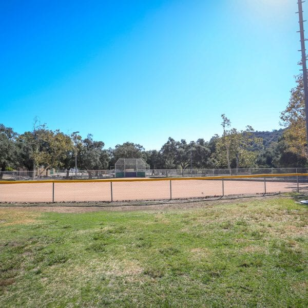Baseball field with surrounding fence