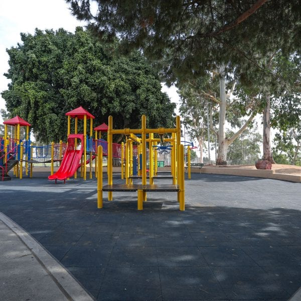 View of playground on rubber turf