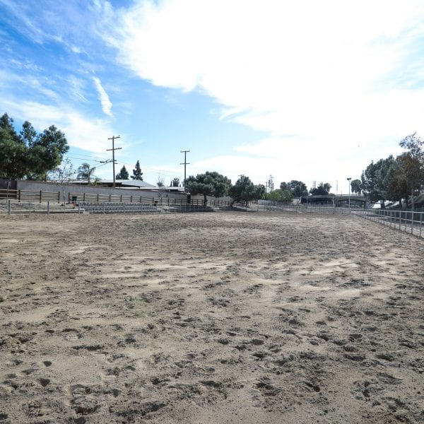 Equestrian course with surrounding fence