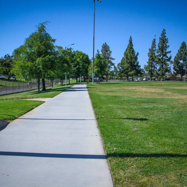 Walkway next to the grass