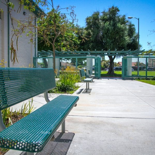 Bench next to walkway