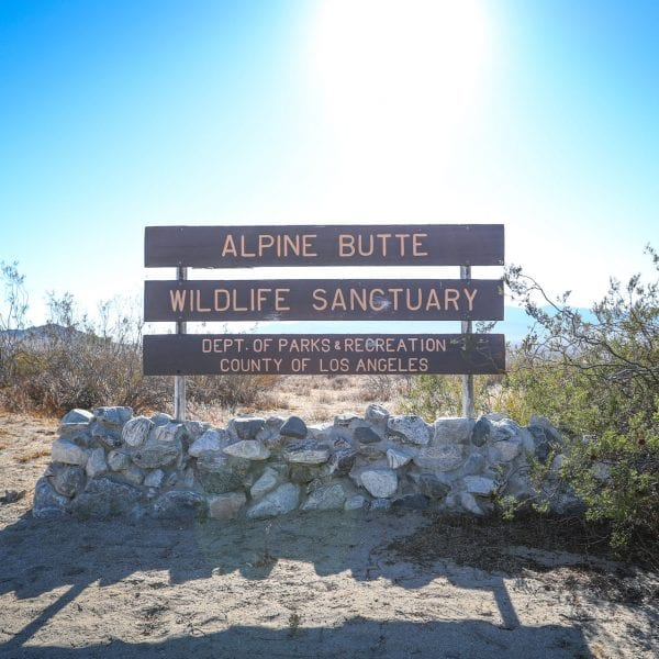 A picture of the Alpine Butte Wildlife Sanctuary sign